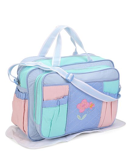 Diaper Bag With Changing Mat & Bottle Cover Sky Blue - 3 Pieces
