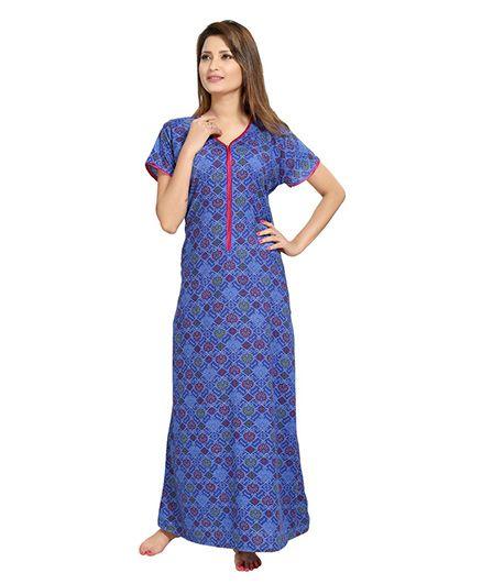 Eazy Womens Front Long Zipper Nighty - Blue