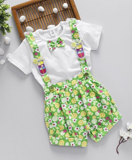 ToffyHouse Short Sleeves Top And Dungaree Floral Print - Green White