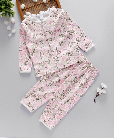 ToffyHouse Full Sleeves Printed Night Suit - Pink White