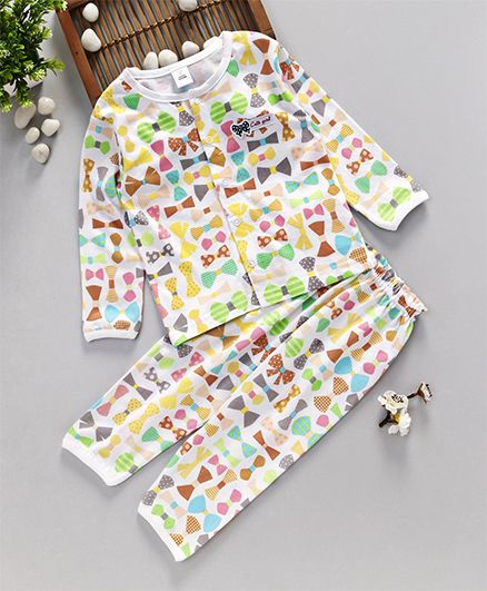 ToffyHouse Full Sleeves Night Suit Bow Print - Multicolor