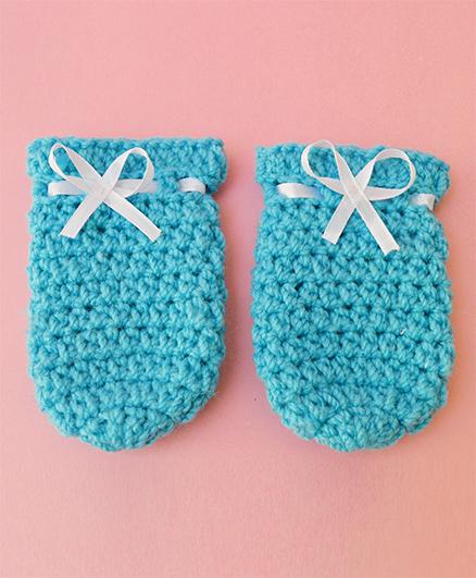 Love Crochet Art Crochet Baby Mittens - Sky Blue