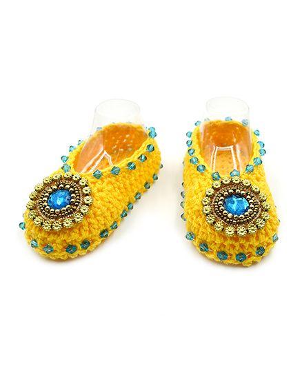 Magic Needles Embellished Mojari Style Booties - Yellow