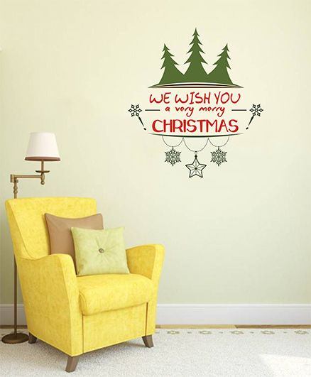 Orka Digital Printed Merry Christmas Logo Design Wall Sticker - Green & Red
