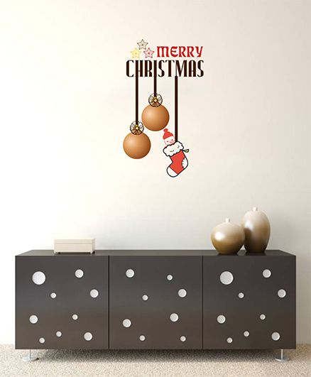 Orka Digital Printed Hanging Bells & Santa Design Wall Sticker - Brown