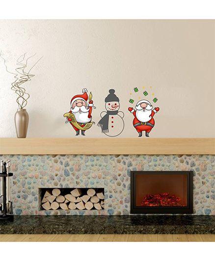 Orka Digital Printed Santa & Snow Man Design Wall Sticker - Multi Colour