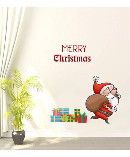 Orka Digital Printed Santa Design Wall Sticker - Multi Colour
