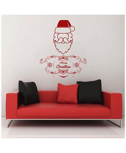 Orka Digital Printed Santa Design Wall Sticker - Red