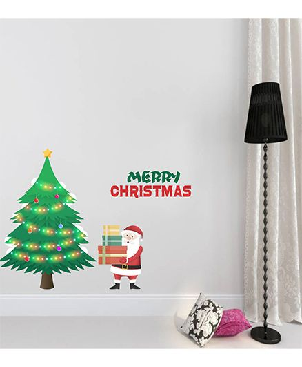 Orka Digital Printed Merry Christmas Design Wall Sticker - Multi Colour