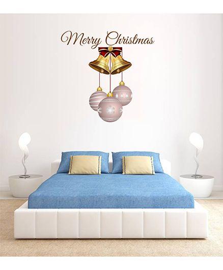 Orka Digital Printed Christmas Bells Design Wall Sticker - Peach