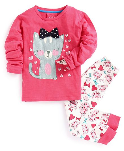 Lazy Shark Cat Printed Full Sleeves Night Sets - White & Pink