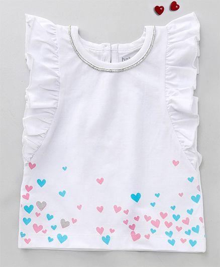 Babyoye Flutter Sleeves Top Heart Print - White