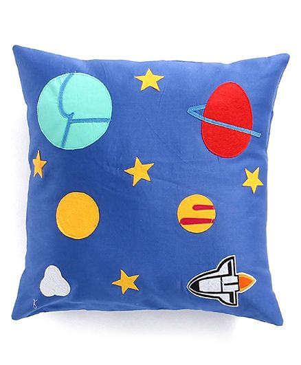 My Gift Booth Cushion Stars & Planets Applique - Royal Blue