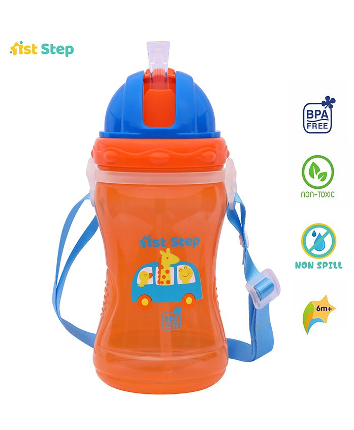 1st Step Spout Sipper Cup Giraffe Print - Orange