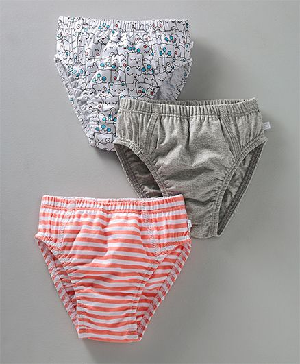 Babyoye Panties Stripe & Kitty Print Pack of 3 - Orange Grey