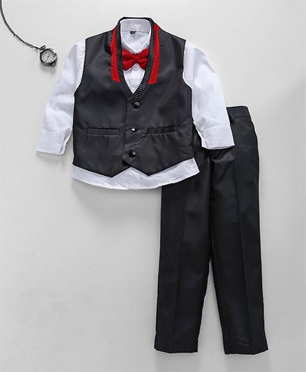 Jeet Ethnics Waistcoat With Shirt Bow & Pant Set - Black
