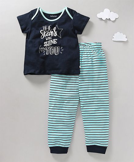 Babyoye Full Sleeves Night Suit Star Quote Print - Navy