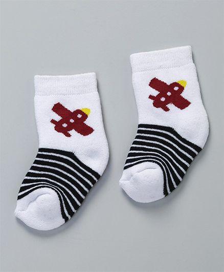 Cute Walk by Babyhug Stripes & Aeroplane Ankle Length Socks Pack of 2 - White & Black