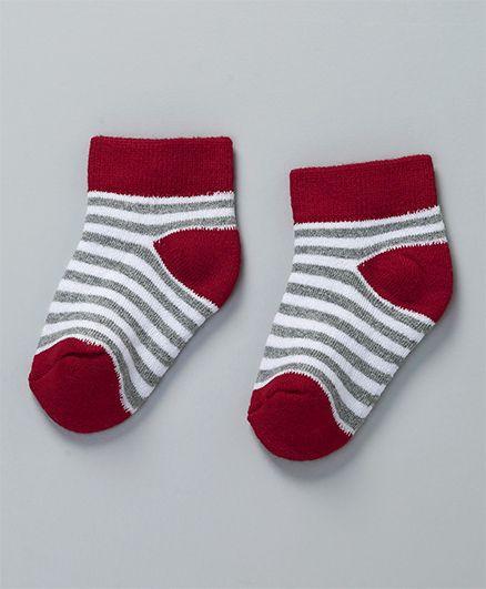 Cute Walk by Babyhug Stripes Ankle Length Socks Pack of 2 - Grey Maroon