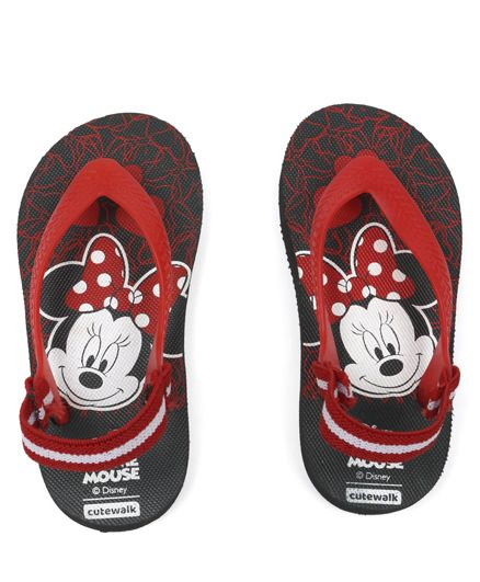 Cute Walk by Babyhug Flip Flops With Back Strap Minnie Mouse Print - Black & Red