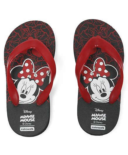 Cute Walk by Babyhug Flip Flops Minnie Mouse Print - Black & Red