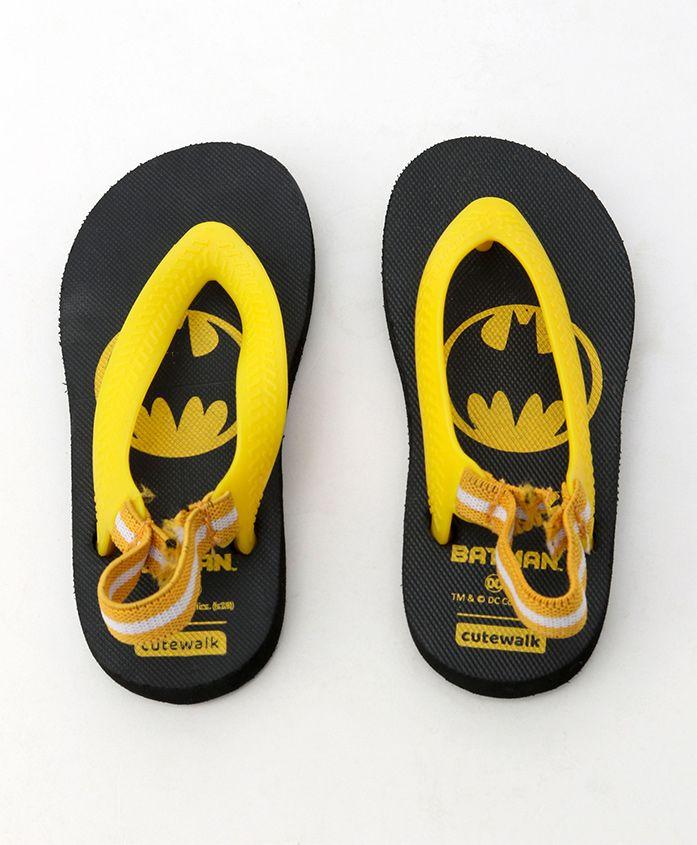 Cute Walk by Babyhug Flip Flops With Back Strap Batman Print - Black