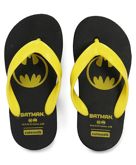 Cute Walk by Babyhug Flip Flops Batman Print - Black
