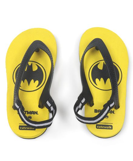 Cute Walk by Babyhug Flip Flops With Back Strap Batman Print - Yellow