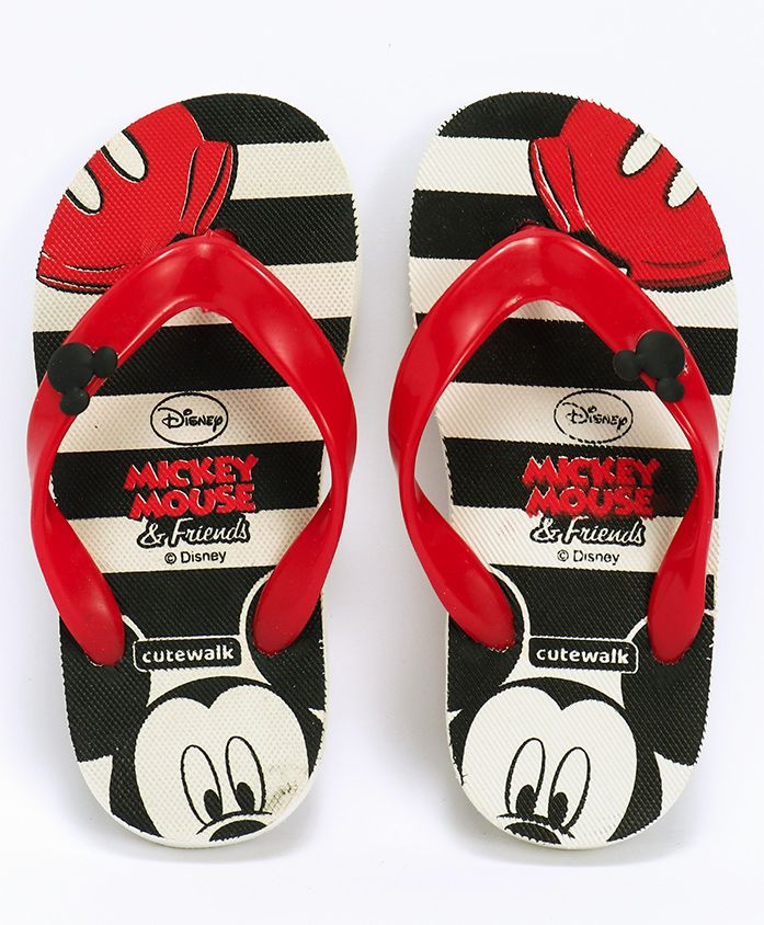 Cute Walk by Babyhug Flip Flops With Back Strap Mickey Mouse Print - Black & Red