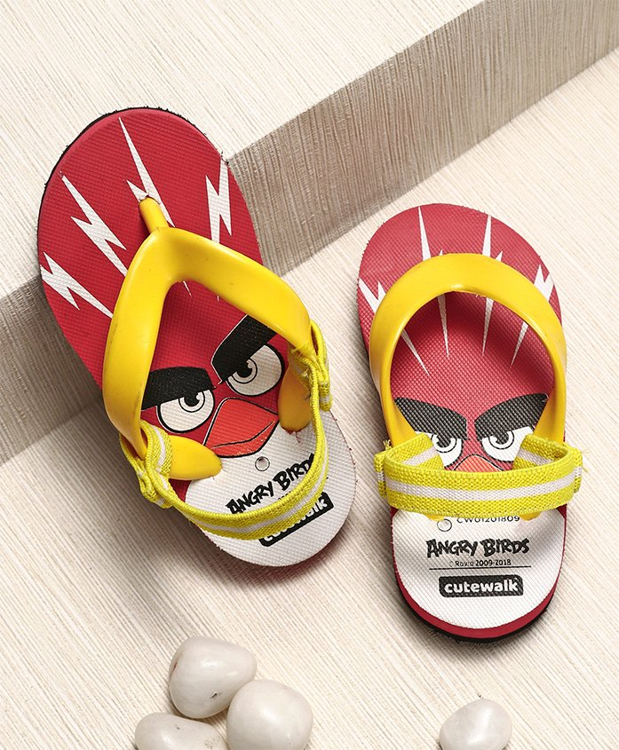 Cute Walk by Babyhug Flip Flops With Back Strap Angry Bird Print - Red