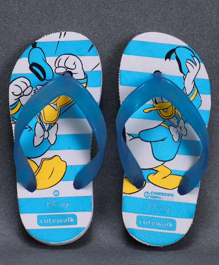Cute Walk by Babyhug Flip Flops Donald Duck Print - Blue
