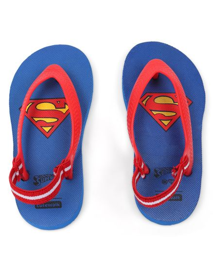 Cute Walk by Babyhug Flip Flops With Back Strap Superman Print - Blue