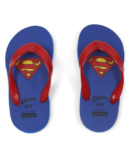 Cute Walk by Babyhug Flip Flops Superman Print - Blue