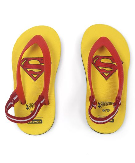 Cute Walk by Babyhug Flip Flops With Back Strap Superman Print - Yellow