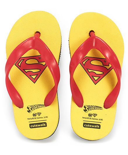 Cute Walk by Babyhug Flip Flops Superman Print - Yellow