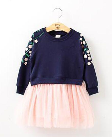 2 Footya T-Shirt Frill Dress - Rose Pink & Dark Blue