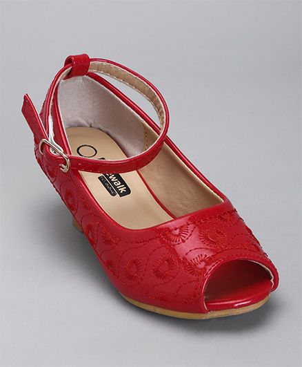 Cute Walk By Babyhug Thread Work Peep Toes - Red
