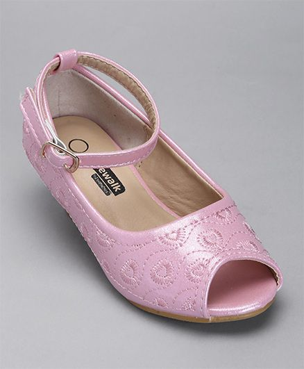 Cute Walk By Babyhug Thread Work Peep Toes - Light Pink