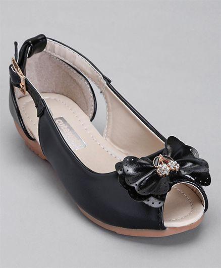 Cute Walk By Babyhug Peep Toes Bow Applique - Black