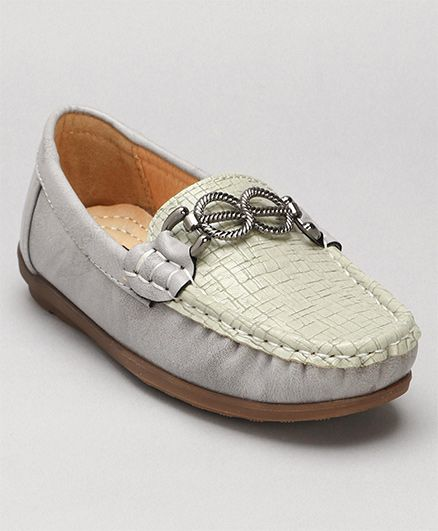 Cute Walk By Babyhug Slip-on Style Loafers - Light Grey