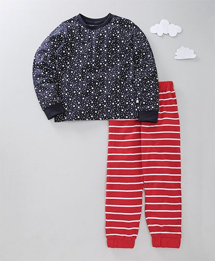 Babyoye Full Sleeves Night Suit Star & Stripe Print - Red Navy