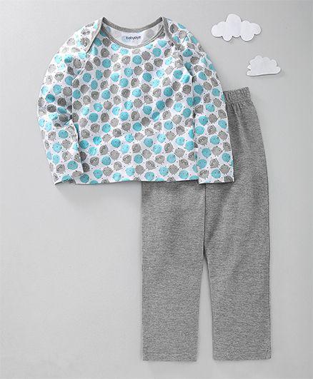 Babyoye Full Sleeves Night Suit Bird Print - Grey Blue