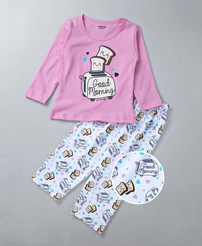 Doreme Full Sleeves Night Suit Toaster Print - Pink & White