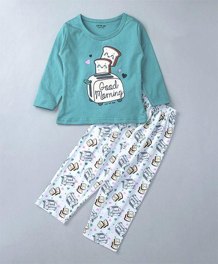 Doreme Full Sleeves Night Suit Toaster Print - Green & White