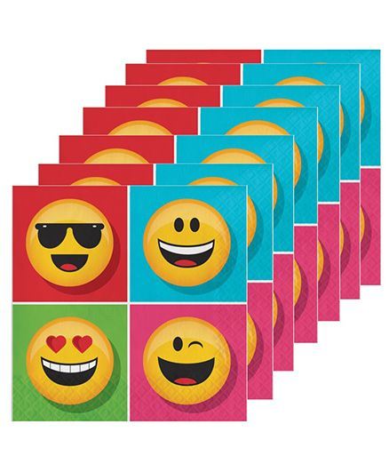 Celebration Essentials Emoticons Luncheon Napkins Pack of 16 - Multicolor