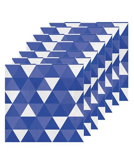Celebration Essentials Luncheon Napkins Triangle Fractal Design Pack of 16 - Blue