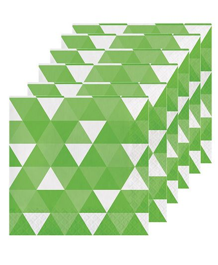 Celebration Essentials Luncheon Napkins Triangle Fractal Design Pack of 16 - Green