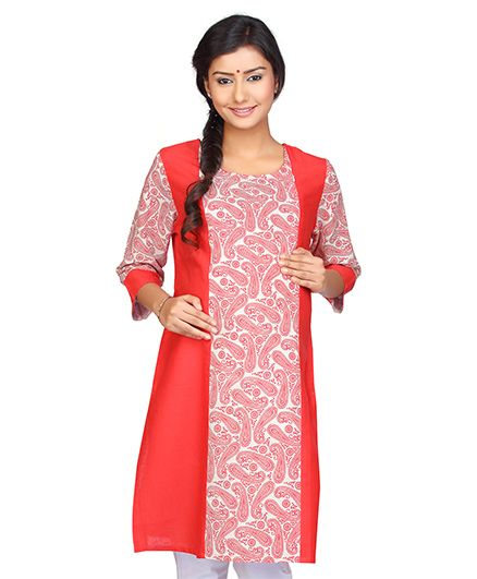 Kriti Three Fourth Sleeves Maternity Nursing Allover Printed Kurti   - Coral