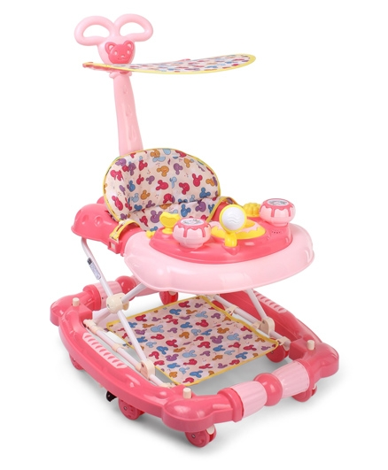 Musical Walker Cum Rocker With Canopy - Pink