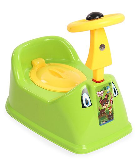Ratnas Potty Chair With Steering Wheel - Green Yellow
